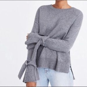 Madewell tie cuff pullover gray sweater sz S